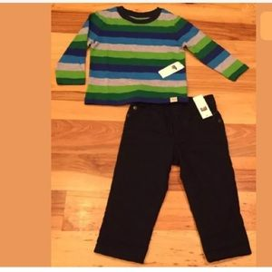 Gap 18-24 Month Striped Shirt & Lined Pants